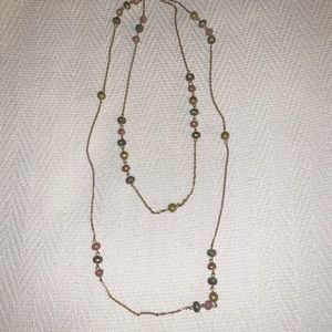 Forever 21 pink and gold colored bead necklace